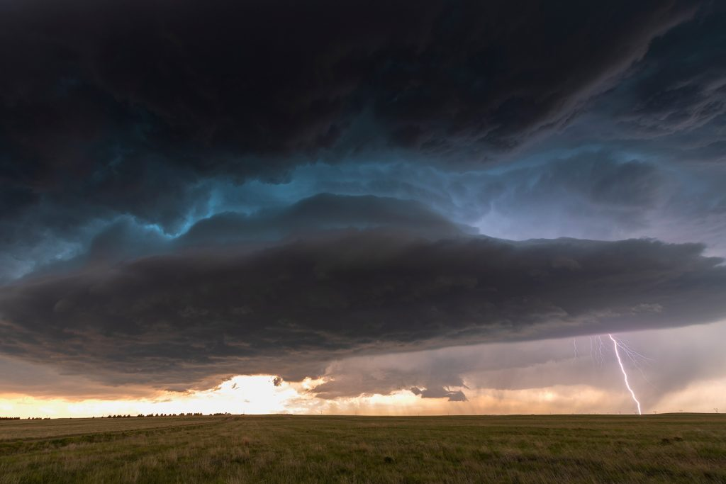 USA, LaGrange , Wyoming – The Supercell With Lightning